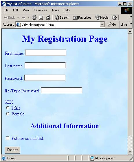 registration form html