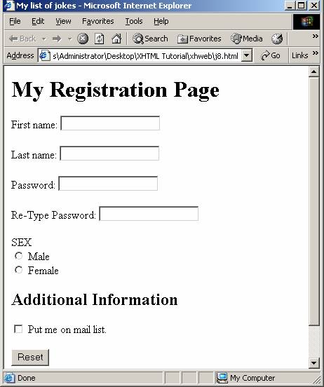 An Example Of Html Site Map: XHTML Tutorial, Forms